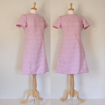 Vintage 60's Dress / Polyester Day Dress / Sears Fashions / Paisley Lavender Pink & White Knit Mod Frock / 60s Fashion