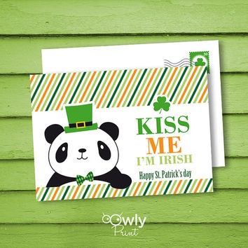 Printable Panda ST PATRICKS Day PostCard. 2 sided Kiss me Im Irish postcard. Ready to print St patricks day card