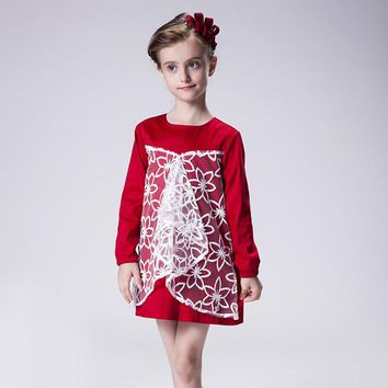 2016 Christmas Little Girls Lace Dress Costume Child Children Kids Clothes Wedding Dresses 10 Years Dresses For Party Princess