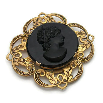 Vintage French Jet Black Glass Cameo Locket Pendant - Ornate Gold Tone Setting - Mourning Locket Relief Cameo