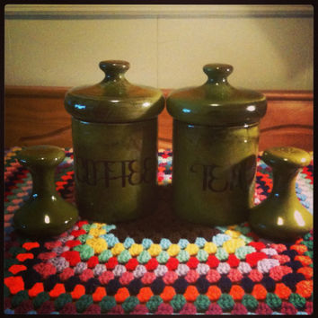 Vintage 1970s Avocado Green Ceramic Tea and Coffee Canisters with Matching Avocado Mushroom Hourglass Salt and Pepper Shakers  6 Piece Set