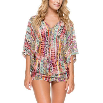 Luli Fama My Way Cabana V-Neck Dress- Multicolor