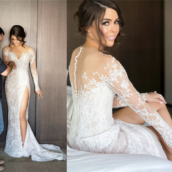Romantic Lace Mermaid Wedding Dresses 2017 Alibaba China Vestidos De Novia Long Sleeved Sheer Split Bridal Gowns Handmade