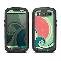 The Vector Retro Green Waves Samsung Galaxy S3 LifeProof Fre Case Skin Set