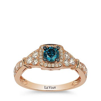 Levian 14Kt Rose Gold Diamond and Blue Diamond Ring