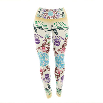 "Famenxt ""Nature Mandala"" Yellow Multicolor Yoga Leggings"