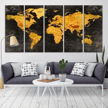86954 - Geographic World Map Canvas Print, Detailed World Map Wall Art Print, Framed, Ready to Hang, Vintage Futuristic World Map Wall Art