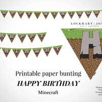 """Minecraft """"Happy Birthday"""" Printable Party Bunting Banner *Instant Download*. Minecraft party paper banner. Digital file PRINT at HOME"""