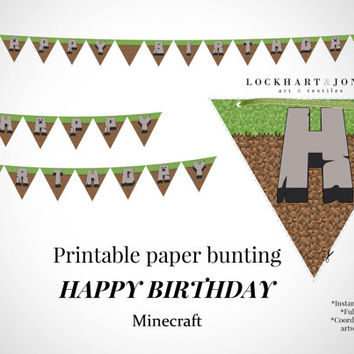 "Minecraft ""Happy Birthday"" Printable Party Bunting Banner *Instant Download*. Minecraft party paper banner. Digital file PRINT at HOME"