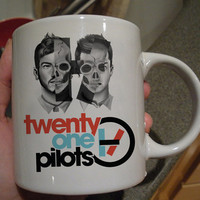twenty one pilots half face mug design