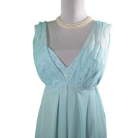 Vintage Lingerie, Long Chiffon baby blue Nightgown