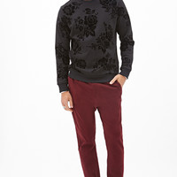 Velveteen Rose Print Sweatshirt Black
