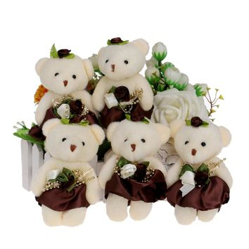 10pcs/lot Flower Bouquets Teddy Bear Small Model Cotton Plush Toys 12CM Dress Party Wedding Accessory Doll Bear