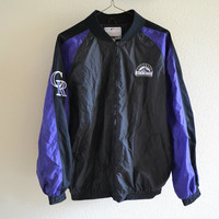 Colorado Rockies Windbreaker Bomber Jacket Oversized Vintage 90s L