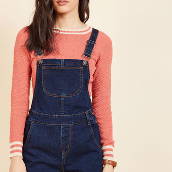 Make Shortall Work of It Denim Romper in Dark Wash | Mod Retro Vintage Shorts | ModCloth.com