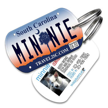South Carolina License Plate Pet Tag - Personalized Pet ID Tag, Custom Dog Tag, Cat ID Tag, Dog Name Tag, Dog Tags for Dogs, Dog License Tag