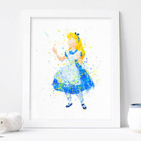 Alice print, Alice in Wonderland watercolor DISNEY - Art, instant download, Nursery, Kids Bedroom Decor, Baby, Giclee Poster Wall Art