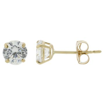 14k Yellow Gold 4MM Round Cubic Zirconium Stud Earrings