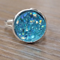 Druzy Ring- Crystal light blue drusy silver tone druzy ring