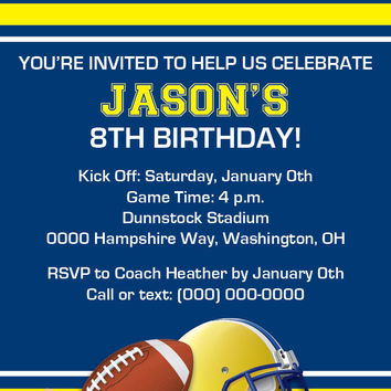 It's Game Time Football Birthday Party Invitation - Digital File OR Printed