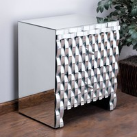 Isadora Mirrored 2-Drawer Nightstand Cabinet