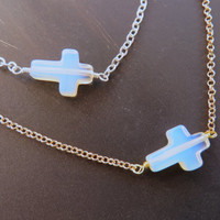 White Opal Sideways Cross Necklace Side Ways Bead Short Choker Simple Opalite Gold Chain Pendant