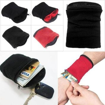 ONETOW 1PC Wrist Wallet Pouch Band Fleece Zipper Gym Cycling Sport Wallet Hiking travel  Accessiories for running
