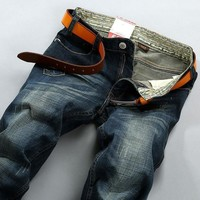 Men's Fashion Vintage Weathered Stretch Slim Pants Jeans [6527212739]