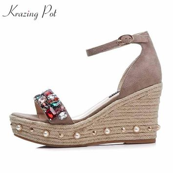 NEW ARRIVALS wedges  2018 sheep suede rhinestone crystal brand shoes  high quality  office lady diamond sandals L52