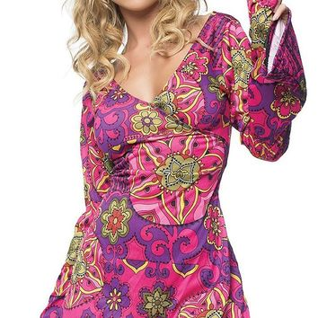 Totally Shagadelic Pink Purple Floral Paisley Pattern Long Bell Sleeve V Neck Mini Dress Halloween Costume