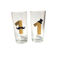 Number stickers, Mustache sticker, Birthday party cups, 1st party cups, Gold party sticker