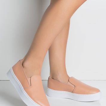 Faux Leather Slip On Low Flatform Sneakers in Blush PU