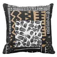 African Tribal Mud Cloth Patchwork Quilt Pattern Throw Pillow