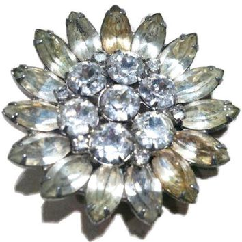Weiss Vintage Jewelry Ice Diamond Rhinestones Pin Whimsical Floral Brooch