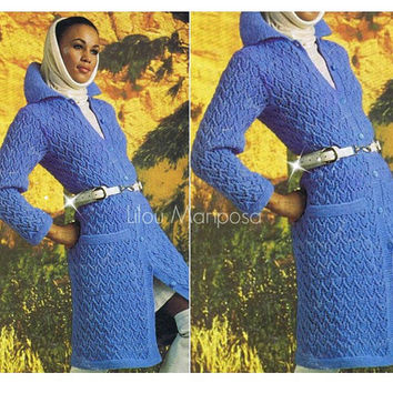 Knitting Pattern Vintage-70s Long Coat Jacket-Knit Jacket-Bohemian Clothing- Hippie Retro pdf file-Vtg DIY