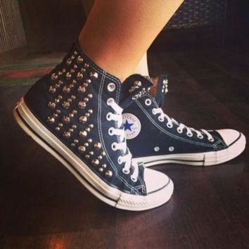 DCCKGQ8 unique studded custom converse all star high tops chuck taylors all sizes colors