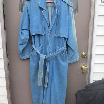 1980  VIVALDI Mens Coat Denim Western Duster Range Long Rider  Western cowboy Oversized   large