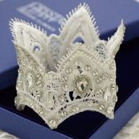 Princess Lace + Rhinestone Mini Crown - White Lace - Photography