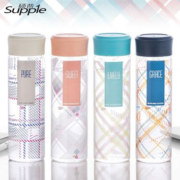 400ml Travel Leakproof Seal Water Bottles 4 color Brief Lemon Water Bottle Direct Drinking Glass Water Bottle Drinkware