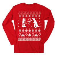 Mens Geeky Christmas Sweater Print Long Sleeve T Shirt (Red)