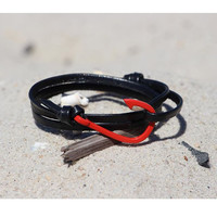 ZENGER Nautical Fish Hook with Genuine Leather Wrap Bracelet