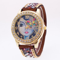 Pretty Girl Print Dial Crystal Strap Watch