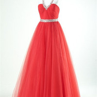 A - Line Sheath/Column Straps Floor-length Tulle Evening Dress