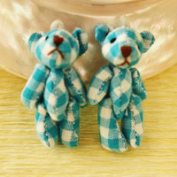 Teddy Bear Doll cab 2pcs  Blue and White Tartan Plaid by CharmTape
