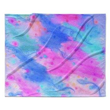 "Ebi Emporium ""Seeing Stars II"" Blue Pink Fleece Throw Blanket"