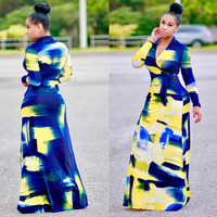Blue and Yellow Print Long Sleeve Wrap Maxi Dress
