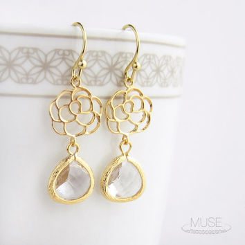Gold Flower and Crystal Earrings - Clear Crystal Bezel Drop Earrings, Dainty Chandelier Earrings, Gold Framed Earrings, Bridesmaid Gift