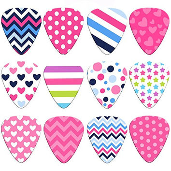 Unique Guitar Picks for Girls | Assorted 12-Pack | Cute Polka Dots, Sweet Hearts & Pink Chevron Designs | Medium | Stylish & Modern | Celluloid