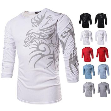 20161 Hot Men's Cool T-Shirt Dragon Print T Shirt Long Sleeve Casual Tops Slim Loose Fit Tees Fashion Brand New TX71 R