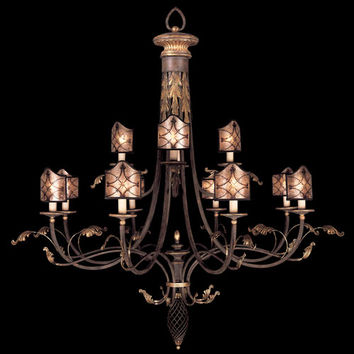 Fine Art Lamps 153540ST Villa 1919 12-Light Chandelier in Rich Umber Finish and Gilded Accents with Hand Painted Mica Shades